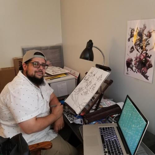 Marcos working on a page for Issue #3 of The Ring Masters.